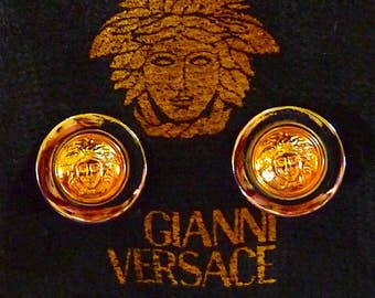 GIANNI VERSACE Earrings, Iconic Medusa Head Clip on Earrings, Gold and Silver Tone, High Fashion Jewelry, Gift Idea