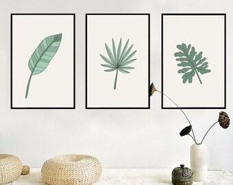 Leafy Greens Minimalist Wall Art, Wall Print, Canvas Wall Art, Canvas Wall Print, Canvas Poster - WA022