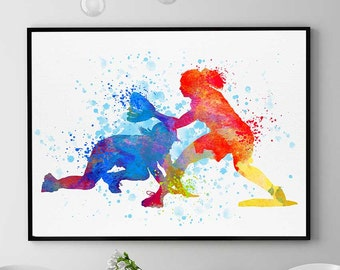 Baseball Print Girls Watercolor Prints Sports Decor Softball Wall Art Christmas Anniversary Gift Baseball Girl Valentine Gift Wall (N059)