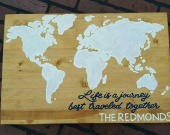 World map customized Life is a journey best traveled together wood sign