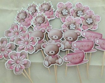 Terry Bear Tea Cup Sunflower Cupcake Toppers Topper with stick Set of 20 Custom Made