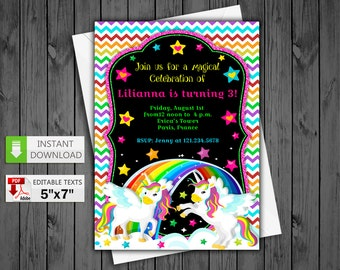 Printable invitation Rainbow Unicorn in PDF with Editable Texts, Rainbow Unicorn party Invite, edit and print yourself! Instant Download! #2