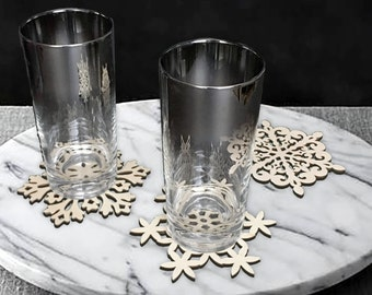 Snowflake Wood Coasters   Whimsical Coasters   Holiday Coasters   Festive Coasters   Christmas Coasters   Set of 5 Unique Snowflakes