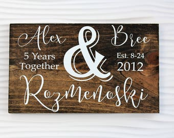 Last Name Sign | Gift for Her | Anniversary Gift | 5 Year |  1 Year | 10 Year | Wedding Gift | Valentines Gift | Wife Gift | Home Decor |