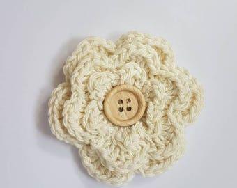 Crochet flower with wooden button, crochet corsage, crochet dog corsage