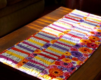 """Quilted Modern Floral Table Runner /Topper 14"""" X 40"""""""