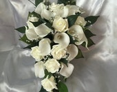 Image of Wedding Flowers ivory real touch Calla lily foam rose bride shower teardrop bouquet artificial crystals diamantes vintage classic greenery