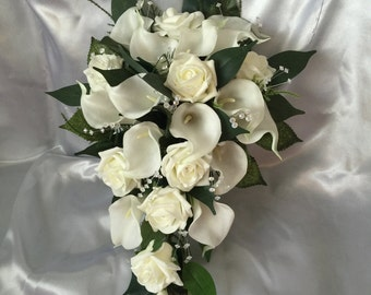 Wedding Flowers Ivory Real Touch Calla Lily Foam Rose Bride Shower Teardrop Bouquet Artificial Crystals Diamantes