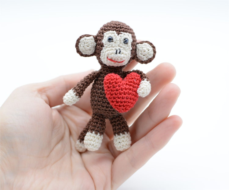 Amigurumi Monkey Keychain : Amigurumi Monkey with red heart Valentines by ...