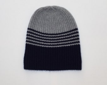 Cashmere hat two-tone, dark blue grey, beanie, cashmere hat