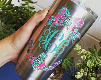 Lilly Pulitzer Inspired Anchor Bow Monogram Decal | Yeti Decal |  Lilly Car Decal | Lilly Monogram Decal | Car Decal | Preppy