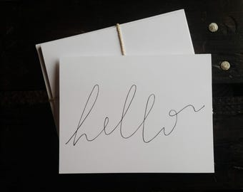 Hand Drawn Hello Card --Pack of Five