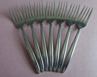 Fifth Avenue Gensico Silverware 7 Salad Forks Stainless Vintage Flatware Fork modern design