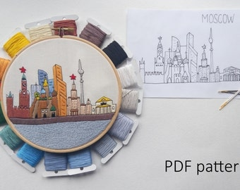 Moscow Hand Embroidery pattern PDF. Embroidery Hoop art, Hand Embroidery, Wall Decor, Housewarming Gift. Free Hand embroidery guide!