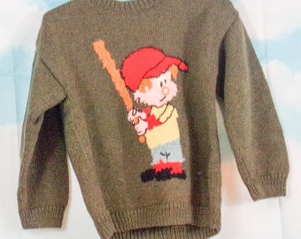 Sweater kid khaki hand-knitted One size fits all Baseball by K4U-Creations