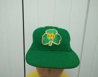 Rare Vintage NOTRE DAME Big Logo Embroidered Cap Hat Free size fit all Made in USA