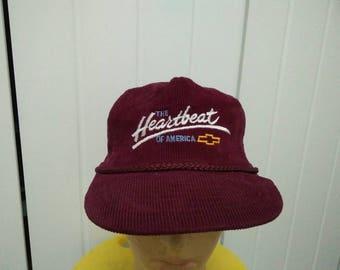 Rare Vintage CHEVROLET The Heartbeat Of America Embroidered Cap Hat Free size fit all