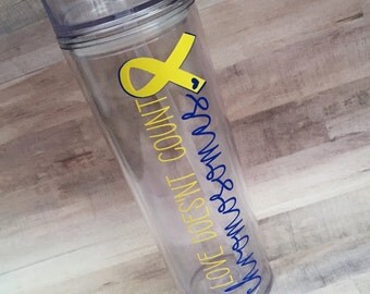Love Doesn't Count Chromosomes Skinny Tumbler - Down Syndrome Day - Down Syndrome Awareness - Down Syndrome Cup