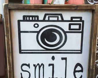 Smile with camera sign 12x12