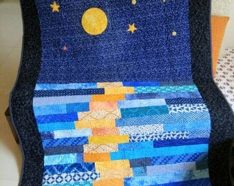 Modern Throw quilt. Sky quilt. Moon reflection quilt. Lap quilt. Homemade quilt. Ocean quilt. Blue Sky Quilt. Patchwork quilt. Quilt sale.