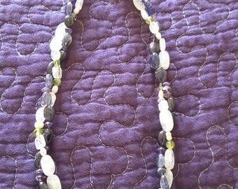 Moonstone Iolite Peridot Amethyst Pearl Twist Necklace