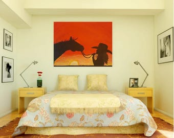 Clearance, acrylic painting, horse and cowgirl