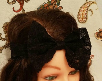 Lace Bow - Black - Headband