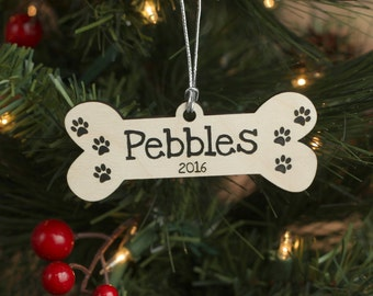 Pet Dog Bone Ornament with Name and Year