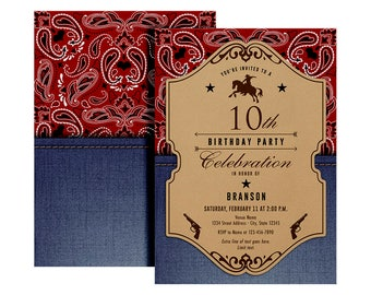 Cowboy Birthday Invitation - Printable Cowboy Birthday Invitation - Cowboy Party Invite - Vintage Cowboy Invitation - Wild West Party
