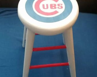 Small Chicago Cubs Handpainted Stool
