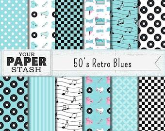 1950's Retro Digital Paper Pack, Sock Hop Scrapbook Paper Backgrounds, Roller Skates & Poodle Skirts, Diner, Checkerboard, Records, Planners