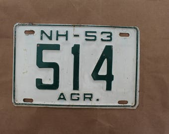 1953 New Hampshire Agricultural  License Plate