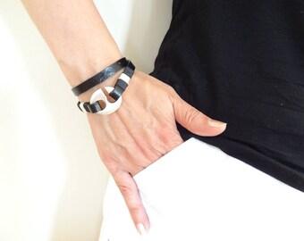 EXPRESS SHIPPING,Hook Bracelet,Wrap Leather Bracelet,Black Leather Bracelet,Bangle,Bracelet,Wrap Bracelet,Father's Day,Mother's Day Gifts