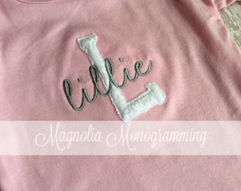 Girl's Monogrammed Pink Baby Gown