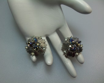 Vintage Silver Tone Clip Earrings with Blue Aurora Borealis and Clear Rhinestones Designer Signed Crown Trifari