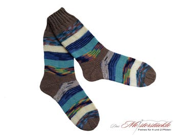 Size 38-39 socks hand-knitted unique! Wool stockings of straped woolsocks striped socks