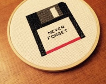 NEVER FORGET Floppy Disk Cross Stitch