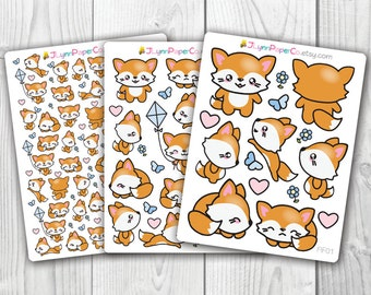 Fox Stickers, Kawaii, Cute Stickers, Planner Stickers, Pretty,  Erin Condren, ECLP, Anime, Manga