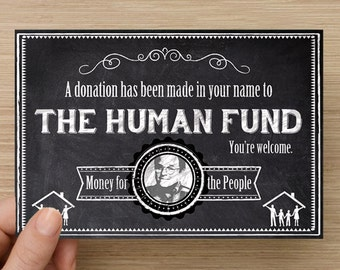 """Seinfeld """"The Human Fund"""" Gift Notification Card Pack of 5"""