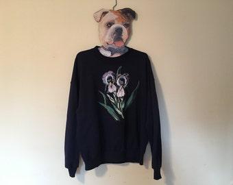 Vintage Painted Iris Sweatershirt, Grandpa Sweater, Oversized Sweater, Baggy Sweater, Grandma Sweater, Oversized Crewneck