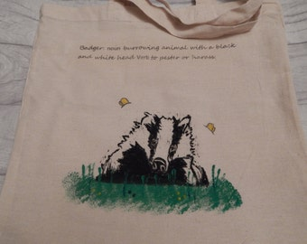 Hand painted Badger tote bag