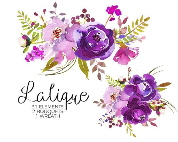 Purple Watercolor Flowers Clipart Set Wedding Floral ...