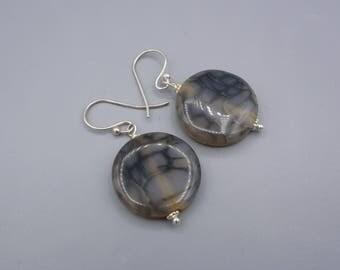 Dragon Vein Agate Earrings,  Gemstone Earrings, Agate Earrings