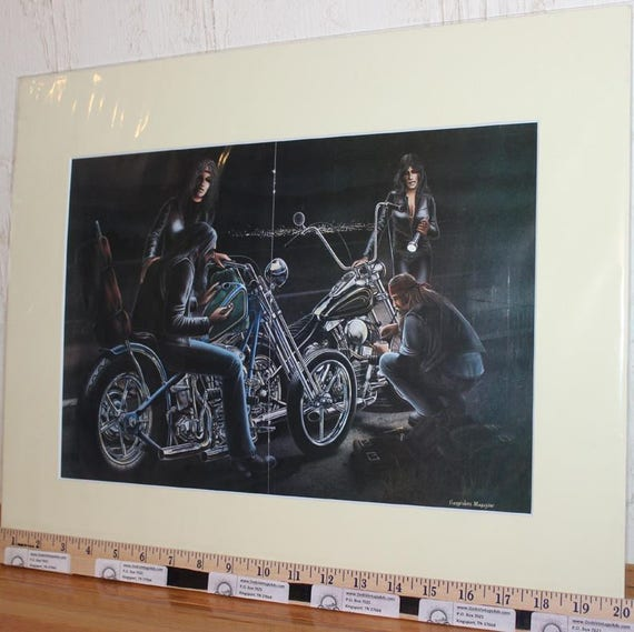 "David Mann ""Dark Roadside Repairs"" 16'' x 20'' Matted Motorcycle Biker Art #8204ezrxmc"