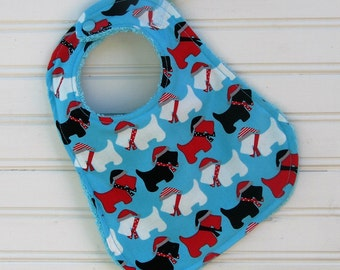 Bib - Scottie Dog Baby Bib - Dog Baby Bib - Gender Neutral Bib - Red and Black Hat Scottie Dog BibHandmade Bib