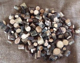 100 Mini Birch Rounds, Rustic Mini Birch Wood Rounds, Rustic Wood Rounds