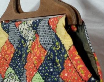 70s 80s Handmade Pattern Fabric Bag Craft Purse Wooden Handle Clutch
