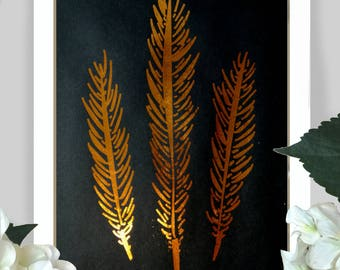 Feather illustration in gold / copper foil