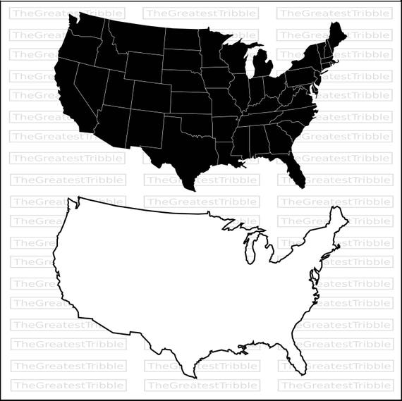 US States Map Eps Svg Png Jpg Vector Graphic Clip Art Silhouette - Outline of us map svg