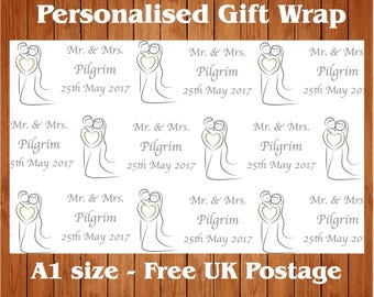 "Personalised Wedding Day Wrapping Paper ""Kissing Couple"" with 2 tags."